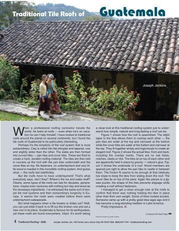 Tile Roofs of Guatemala - Traditional Roofing Magazine