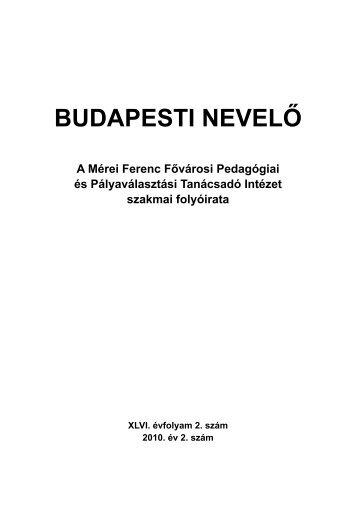 BUDAPESTI NEVELŐ - Mérei Ferenc Fővárosi Pedagógiai és ...