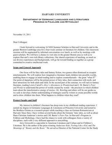 Download a letter from Professor Tatar - Harvard Summer School ...