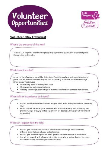 Volunteer eBay Enthusiast.pdf - CLIC Sargent