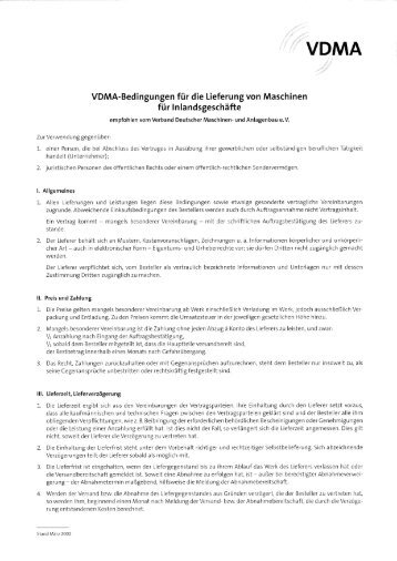 VDMA-Bedingungen für die Lieferung von ... - sab-bremen.de