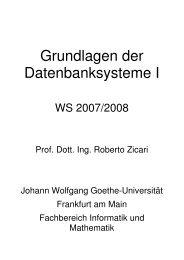 Grundlagen der Datenbanksysteme I - Goethe-Universität