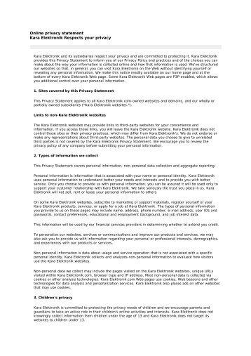 Online privacy statement