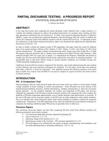 partial discharge testing: a progress report - Iris Power Engineering