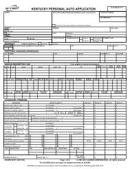 KENTUCKY PERSONAL AUTO APPLICATION - ACORD Forms