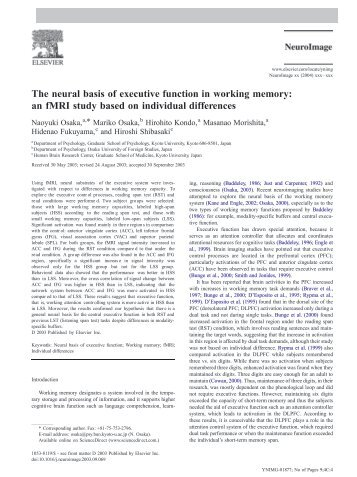 The neural basis of executive function in working memory: an fMRI ...