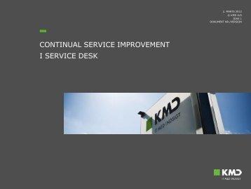 CONTINUAL SERVICE IMPROVEMENT I SERVICE DESK - MBCE