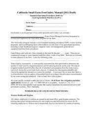 Food Safety Manual - University of California Small Farm Program