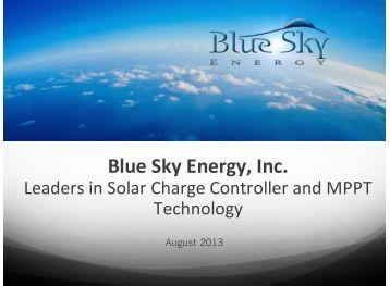 Batteries - Blue Sky Energy