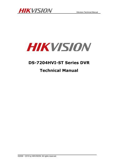 DS-7204HVI-ST Series DVR Technical Manual - Jacksons Security