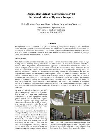 Augmented Virtual Environments (AVE) - InfoLab - University of ...