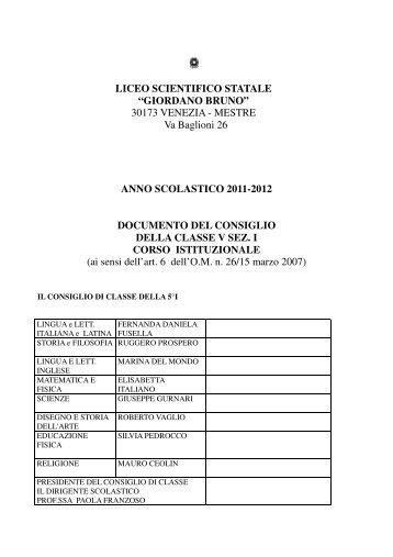 5°I Documento del Consiglio della classe a.s. 2011-2012 - Liceo ...