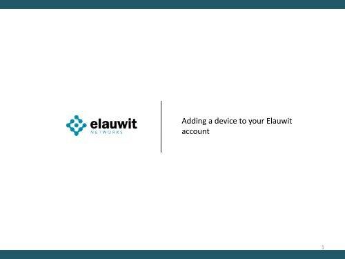 elauwit add a device