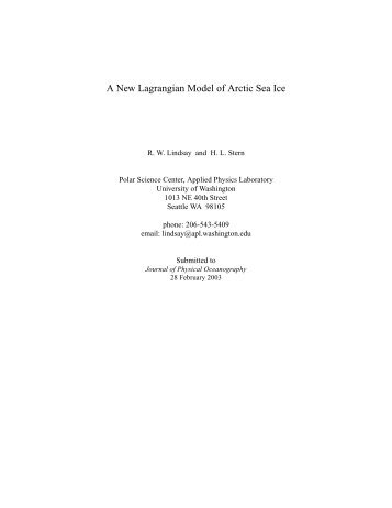 A New Lagrangian Model of Arctic Sea Ice - Polar Science Center