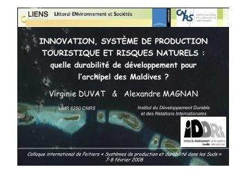INNOVATION, SYSTÈME DE PRODUCTION TOURISTIQUE ... - Iddri