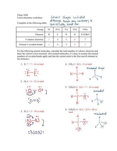 Chem 1020 Lewis structures worksheet Complete in the ...