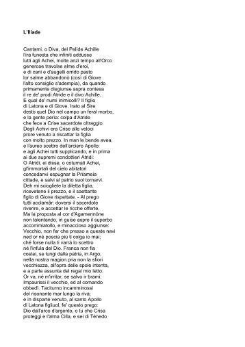 Iliade baricco - Parafrasi di cantami o diva del pelide achille ...