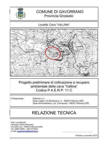 Relazione progetto preliminare - Comune di Gavorrano