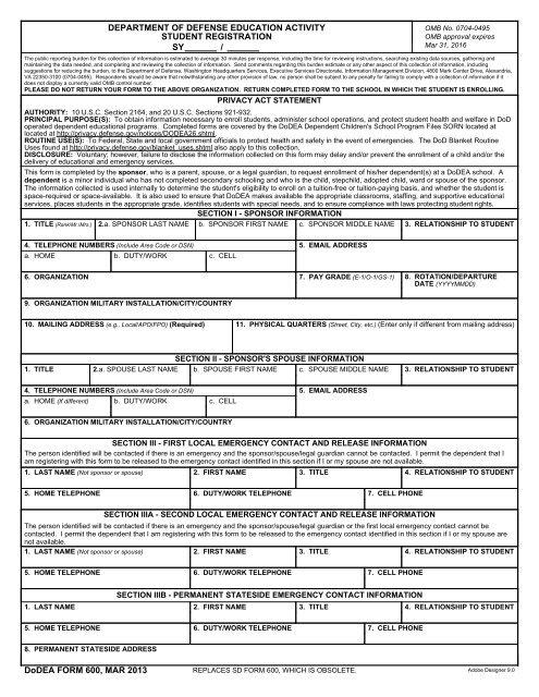 DoDEA Form 600, DoDEA Student Registration, March 2013
