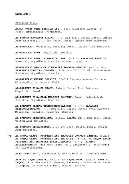International Wire Services | Bush Liste 4 Entities 46 Aaran Money Wire Service Inc