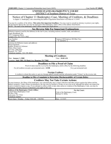 Notice of Chapter 11 Bankruptcy Case, Meeting of Creditors ...