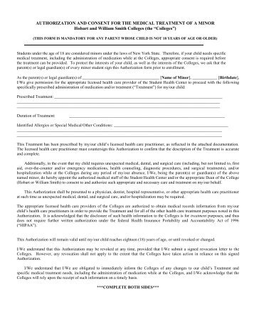 Authorization for consent to medical treatment for minors and medical authorization form for minors hobart and william smith altavistaventures Image collections