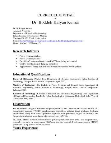 dr boddeti kalyan kumar department of electrical engineering