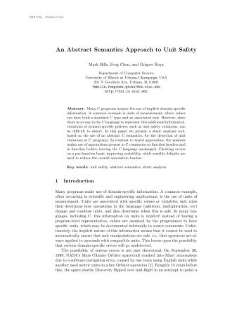 An Abstract Semantics Approach to Unit Safety - Formal Systems ...