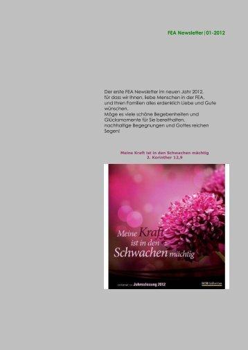 Der FEA-Newsletter, Januar 2012 - VUV