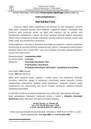 informatyki - Instytut Matematyki i Informatyki Uniwersytetu Opolskiego