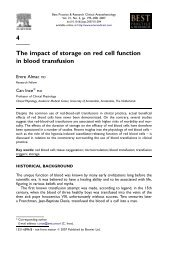 4 The impact of storage on red cell function in blood transfusion