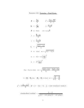 Formula sheet for final exam