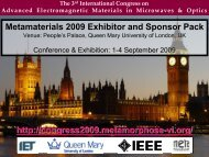 Metamaterials 2009 exhibitor and sponsor brochure, sept 1-4 ...