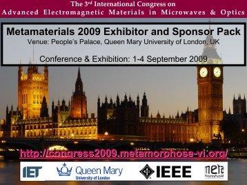 Metamaterials 2009 exhibitor and sponsor brochure, sept 1-4 ...