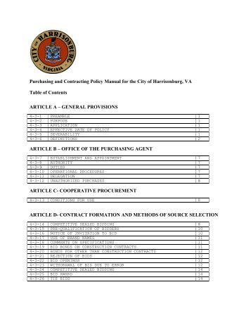 Purchasing and Contracting Policy Manual - City of Harrisonburg