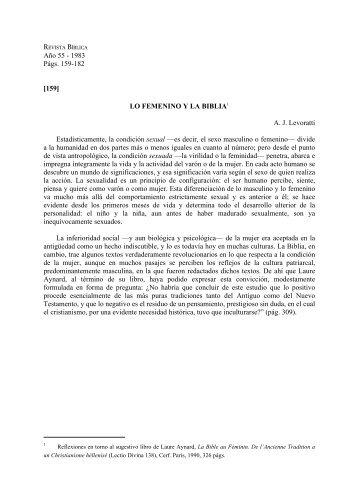 Año 55 - 1983 Págs. 159-182 [159] LO FEMENINO ... - Revista Biblica