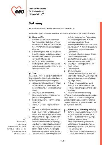 AWO NR Satzung 2010 03 18 - AWO Bezirksverband Niederrhein eV