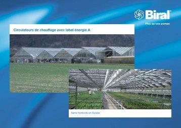 Circulateurs de chauffage avec label énergie A - Biral