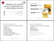 Méthodes de synthèse sonore et applications en informatique ...