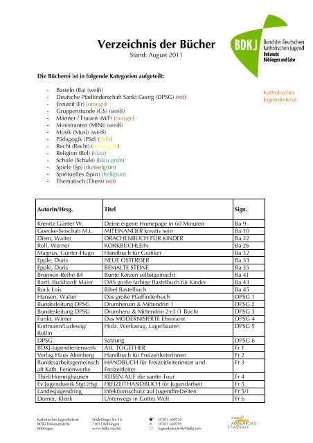 Verzeichnis der Bücher - Katholische Jugendreferate   BDKJ ...