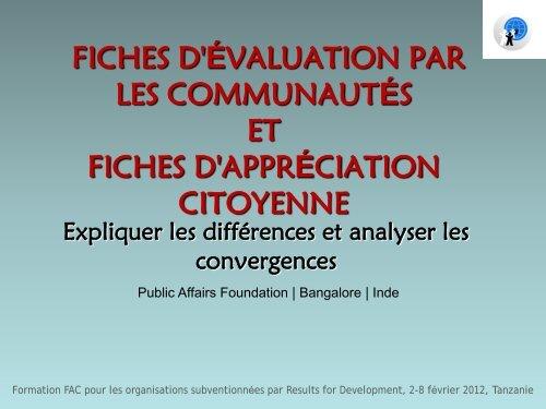 FICHES D'APPRÉCIATION CITOYENNE et FICHES D'ÉVALUATION ...