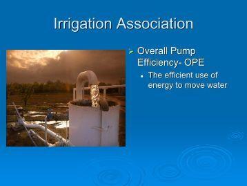 Irrigation Association - International Center for Water Technology