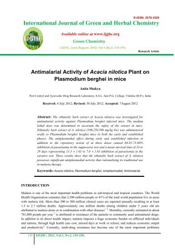 Antimalarial Activity of Acacia nilotica Plant on Plasmodium ... - IJGHC
