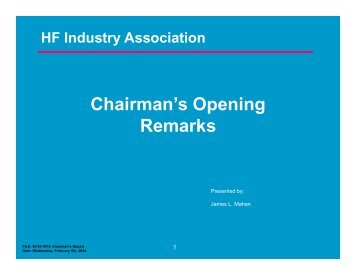 Chairman's Opening R k Remarks - HFIA
