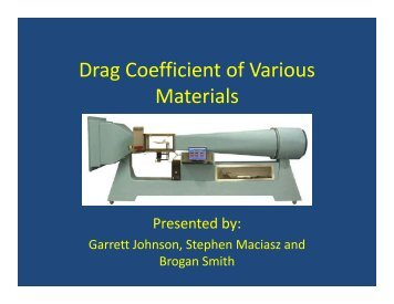 Drag Coefficient of Various Materials