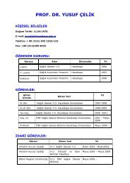 prof. dr. yusuf çelik - Sağlık İdaresi Bölümü - Hacettepe Üniversitesi