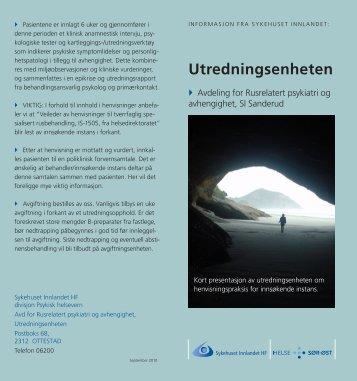 Utredningsenheten - informasjonsbrosjyre - Sykehuset Innlandet HF