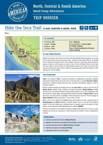 Hike the Inca Trail - Adventure holidays