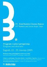 Elektronička verzija knjige sažetaka - Odsjek za psihologiju