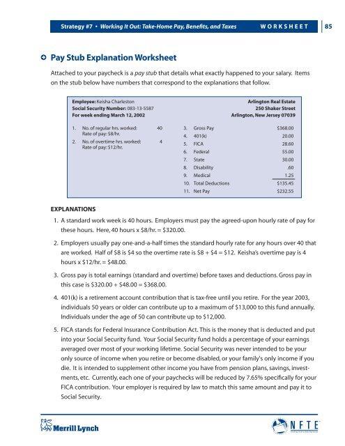 Pay Stub Explanation Worksheet